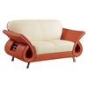Wesley Leather Loveseat - Beige and Orange