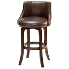 "Napa Valley 25"" Swivel Counter Stool - Cherry, Brown Leather"