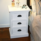 Halifax White Mahogany 3-Drawer Nightstand