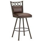 "Waterson 30"" Armless Swivel Bar Stool - Padded, Rust, Leather"