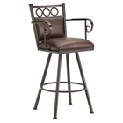 "Waterson 26"" Swivel Counter Stool - Armrests, Padded, Rust, Leather"