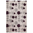 Frances Hand Tufted Floral Wool Rug in Grey and Mauve