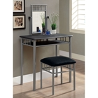 Infinity Vanity Table and Stool Set - Silver Metal, Microfiber Seat