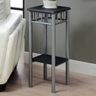 Infinity Plant Stand - Black Top & Shelf, Silver Finished Legs
