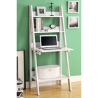Edith Ladder Style Bookcase - Drop-Down Desk, White