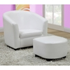 Piccoli Juvenile Club Chair and Ottoman Set - White