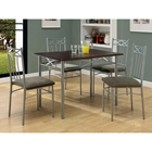 Honesty 5 Piece Dining Set - Cappuccino Top, Silver Metal