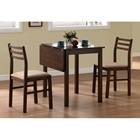 Compassion 3 Piece Dinette Set - Drop Leaf Top, Walnut