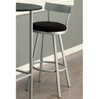 Retrospective Swivel Bar Stool - Silver Metal, Black Seat (Set of 2)
