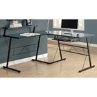 Sawyer L-Shaped Computer Desk - Glass, Black Finished Metal