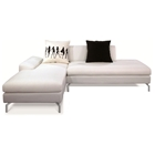 Bosnia Sectional Sofa - Cream White Fabric, Left Facing Chaise