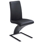 Brent Z-Shaped Dining Chair - Chrome Base, Black
