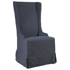 Atlantic Beach Dining Chair - Charcoal Gray Linen Slipcover