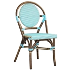 Paris Bistro Chair - Brown Rattan Frame, Blue (Set of 2)