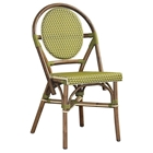 Paris Bistro Chair - Brown Rattan Frame, Green (Set of 2)