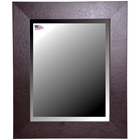 Wall Mirror - Wide Brown Leather Frame, Beveled Glass