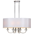 Lux Chandelier - Silver, Metal, Off-White Silk Shade