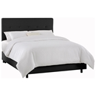 Cassiopeia Upholstered Bed - Twill, Button Accents, Black