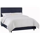 Cassiopeia Upholstered Bed - Twill, Button Accents, Navy