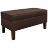 Perseus Upholstered Storage Bench - Decorative Piping, Chocolate