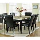 Monarch 7 Piece Contemporary Dining Set with Black Chairs