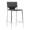 Montclare 26'' Counter Stool - Chrome Frame, Black Leather