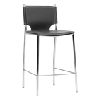 Montclare 26 Counter Stool - Chrome Frame, Black Leather