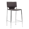 Montclare 26'' Counter Stool - Chrome Frame, Brown Leather