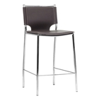 Montclare 26 Counter Stool - Chrome Frame, Brown Leather