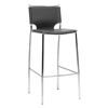 Montclare 29.25'' Bar Stool - Chrome Frame, Black Leather