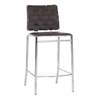 Vittoria 26 Counter Stool - Chrome Frame, Brown Woven Leather