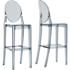 Infinity Plastic Bar Stool - Smoke Gray (Set of 2)