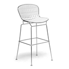 Tolland 30.5 Bar Stool - Chrome Steel, White Seat Pad