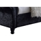 Castello Velvet Upholstered Sleigh Bed - Faux Crystal Buttoned, Black - WI-CF8539-BLACK