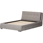 Camile Fabric Upholstered 4 Drawers Storage Platform Bed - Tufted, Gray