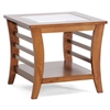 Allison Wood End Table - Honey Brown, Glass Inlay, Lower Shelf