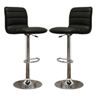 Lyris Black Adjustable Height Swivel Bar Stool