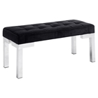 Partner Bench - Tufted, Black Velvet