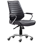 Enterprise Low Back Ribbed Office Chair - Chrome Steel, Black