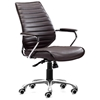 Enterprise Low Back Ribbed Office Chair - Chrome Steel, Espresso
