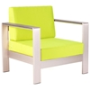Cosmopolitan Patio Armchair - Brushed Aluminum, Teak, Green