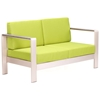 Cosmopolitan Patio Sofa - Brushed Aluminum, Teak, Green