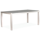 Metropolitan Outdoor Dining Table - Brushed Aluminum, Teak